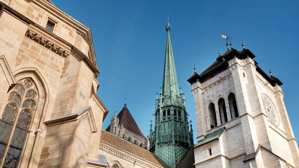 Church spire and architecture in Geneva