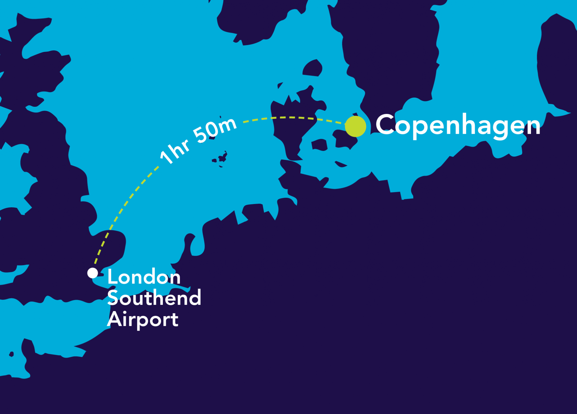 Image of map from London Southend Airport to Copenhagen