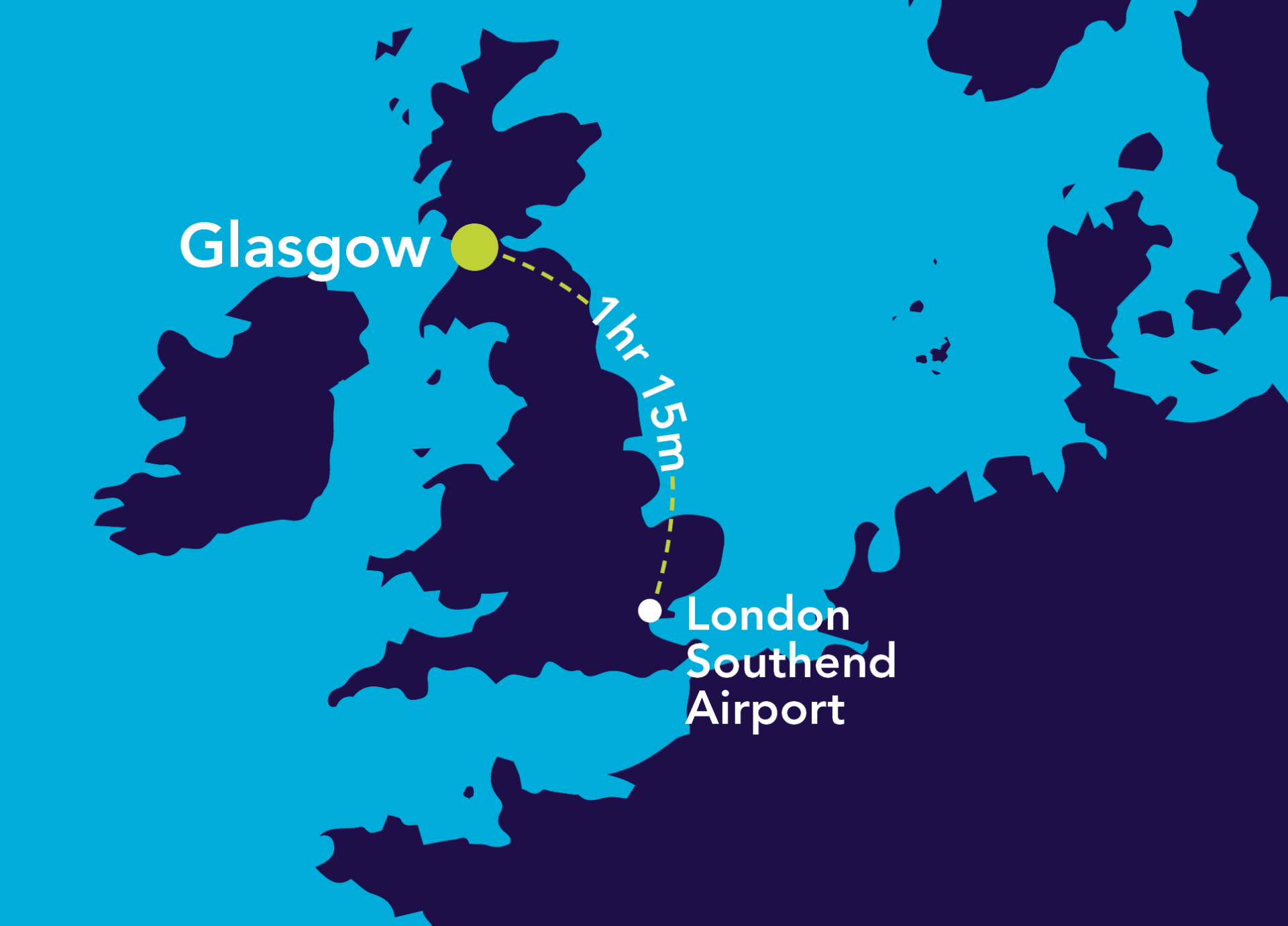 Image of map of London Southend Airport to Glasgow