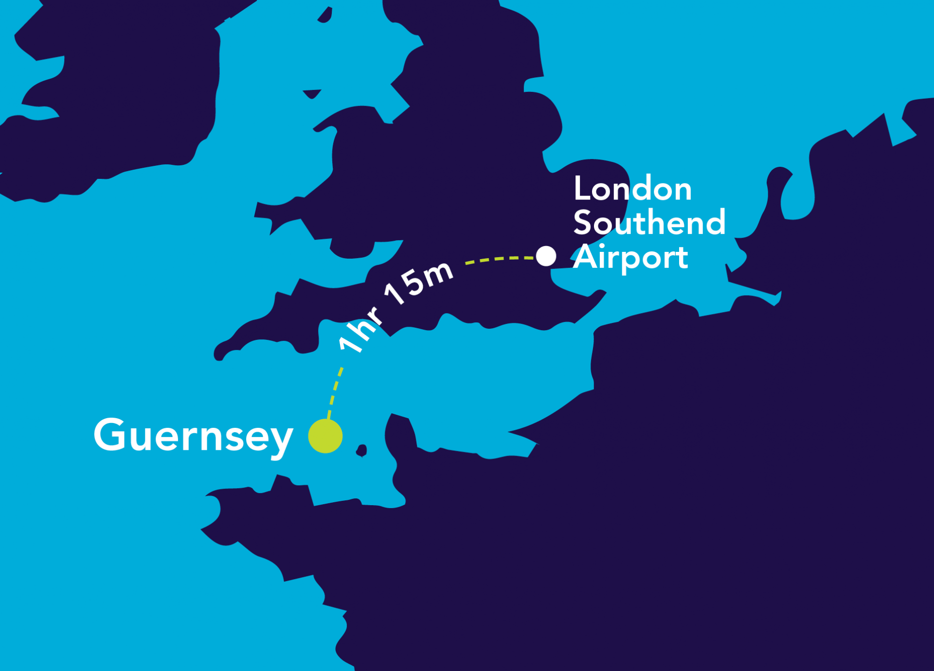 Image of map of London Southend Airport to Guernsey