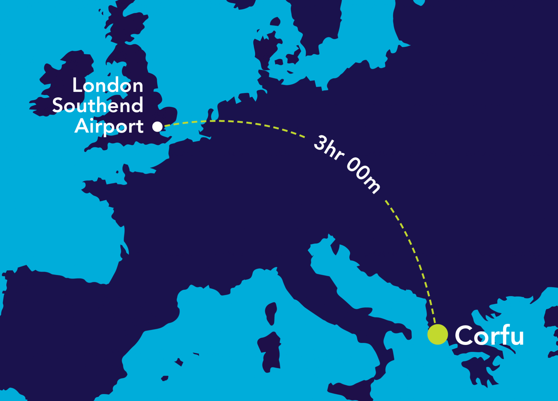 Image of map from London Southend Airport to Corfu