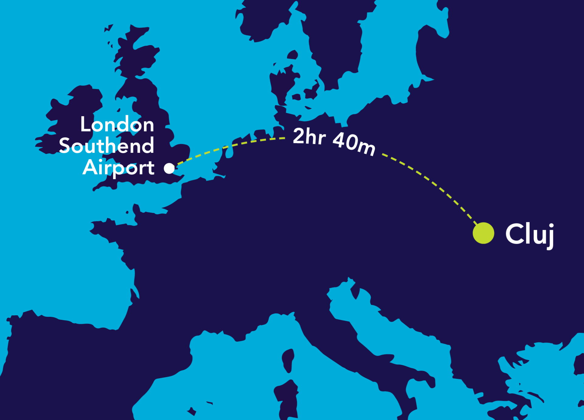 Image of map from London Southend Airport to Cluj